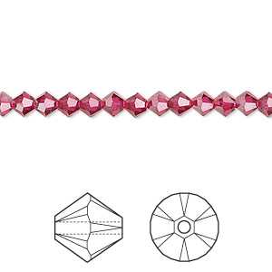 bead, swarovski crystals, ruby, 4mm xilion bicone (5328). sold per pkg of 48.