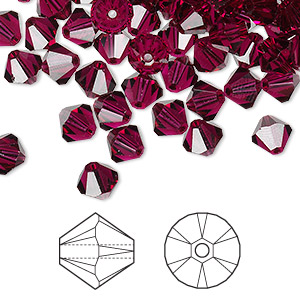 bead, swarovski crystals, ruby, 6mm xilion bicone (5328). sold per pkg of 144 (1 gross).