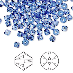 bead, swarovski crystals, sapphire, 4mm xilion bicone (5328). sold per pkg of 1,440 (10 gross).