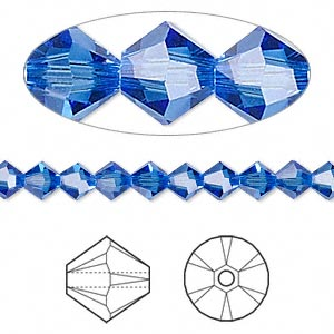 bead, swarovski crystals, sapphire, 5mm xilion bicone (5328). sold per pkg of 24.
