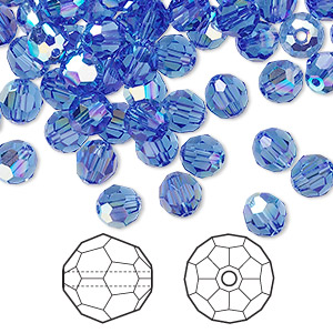 bead, swarovski crystals, sapphire ab, 6mm faceted round (5000). sold per pkg of 360.
