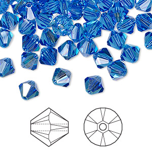 bead, swarovski crystals, sapphire ab, 6mm xilion bicone (5328). sold per pkg of 360.