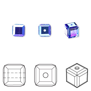 bead, swarovski crystals, sapphire ab, 6x6mm faceted cube (5601). sold per pkg of 144 (1 gross).