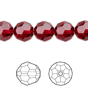 bead, swarovski crystals, scarlet, 10mm faceted round (5000). sold per pkg of 144 (1 gross).