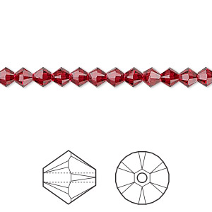 bead, swarovski crystals, scarlet, 4mm xilion bicone (5328). sold per pkg of 1,440 (10 gross).