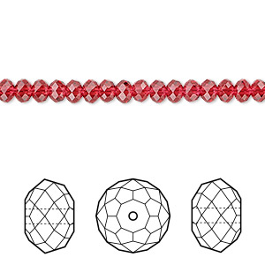 bead, swarovski crystals, scarlet, 4x3mm faceted rondelle (5040). sold per pkg of 720 (5 gross).