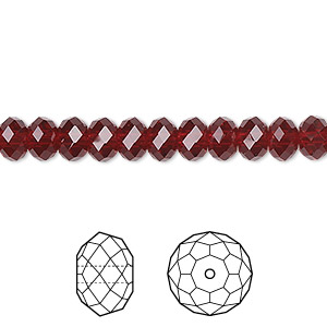 bead, swarovski crystals, siam, 6x4mm faceted rondelle (5040). sold per pkg of 360.