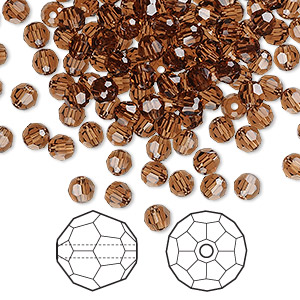 bead, swarovski crystals, smoked topaz, 4mm faceted round (5000). sold per pkg of 720 (5 gross).