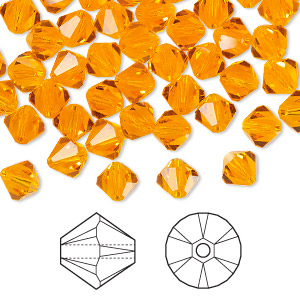 bead, swarovski crystals, sun, 6mm faceted bicone (5301). sold per pkg of 360.