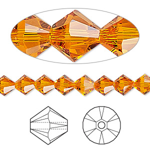 bead, swarovski crystals, tangerine, 6mm xilion bicone (5328). sold per pkg of 360.