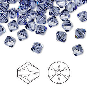 bead, swarovski crystals, tanzanite, 6mm xilion bicone (5328). sold per pkg of 24.