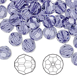 bead, swarovski crystals, tanzanite, 8mm faceted round (5000). sold per pkg of 144 (1 gross).