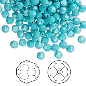 bead, swarovski crystals, turquoise, 4mm faceted round (5000). sold per pkg of 720 (5 gross).