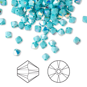 bead, swarovski crystals, turquoise ab, 4mm xilion bicone (5328). sold per pkg of 48.