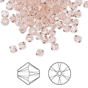 bead, swarovski crystals, vintage rose, 4mm xilion bicone (5328). sold per pkg of 1,440 (10 gross).