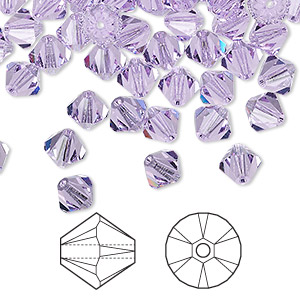 bead, swarovski crystals, violet, 6mm xilion bicone (5328). sold per pkg of 144 (1 gross).