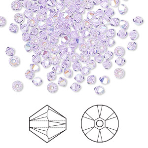 bead, swarovski crystals, violet ab, 3mm xilion bicone (5328). sold per pkg of 1,440 (10 gross).
