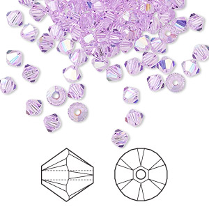 bead, swarovski crystals, violet ab, 4mm xilion bicone (5328). sold per pkg of 48.