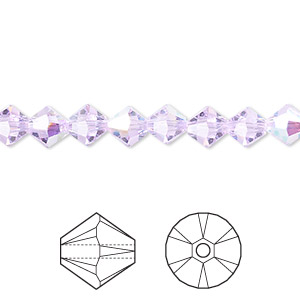 bead, swarovski crystals, violet ab, 6mm xilion bicone (5328). sold per pkg of 144 (1 gross).