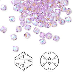 bead, swarovski crystals, violet ab2x, 4mm xilion bicone (5328). sold per pkg of 1,440 (10 gross).