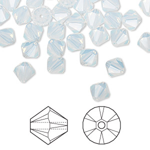 bead, swarovski crystals, white opal, 6mm xilion bicone (5328). sold per pkg of 24.