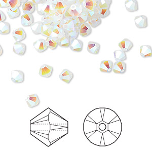 bead, swarovski crystals, white opal ab2x, 4mm xilion bicone (5328). sold per pkg of 144 (1 gross).