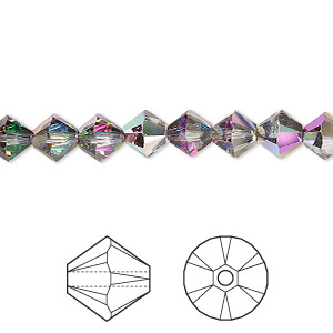 bead, swarovski crystals with third-party coating, crystal passions, crystal electra, 6mm xilion bicone (5328). sold per pkg of 24.