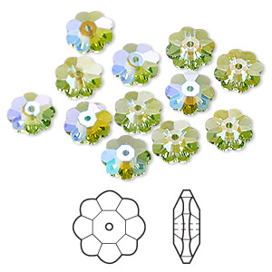 bead, swarovski crystals with third-party coating, crystal passions, peridot glacier blue, 8x3mm faceted marguerite lochrose flower (3700). sold per pkg of 12.