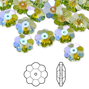 bead, swarovski crystals with third-party coating, peridot glacier blue, 10x3.5mm faceted marguerite lochrose flower (3700). sold per pkg of 288 (2 gross).