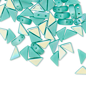 bead, tango™, czech pressed glass, opaque green turquoise ab, 8x6x6mm triangle with (2) 0.7-0.8mm holes. sold per 10-gram pkg, approximately 65 beads.