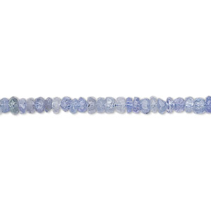 bead, tanzanite (heated), 3x1mm-4x2mm hand-cut faceted rondelle, c+ grade, mohs hardness 6 to 7. sold per 16-inch strand.