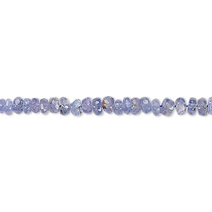 bead, tanzanite (heated), 3x1mm-5x3mm graduated hand-cut faceted rondelle, c+ grade, mohs hardness 6 to 7. sold per 8-inch strand.