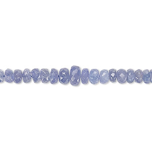 bead, tanzanite (heated), 3x2mm-4x3mm graduated faceted rondelle, b grade, mohs hardness 6 to 7. sold per 16-inch strand.
