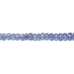 bead, tanzanite (heated), 3x2mm-4x3mm graduated hand-cut faceted rondelle, b grade, mohs hardness 6 to 7. sold per 14-inch strand.