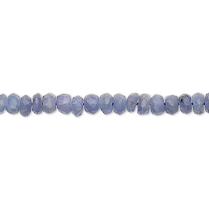 bead, tanzanite (heated), 3x2mm-6x4mm graduated hand-cut faceted rondelle, c grade, mohs hardness 6 to 7. sold per 15-inch strand.