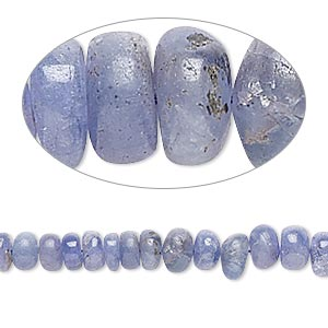 bead, tanzanite (heated), 4x2mm-7x4mm graduated hand-cut rondelle, c grade, mohs hardness 6 to 7. sold per 16-inch strand.