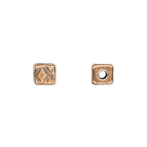 bead, tierracast, antique copper-plated pewter (tin-based alloy), 6x6mm textured cube with 2mm hole. sold per pkg of 2.