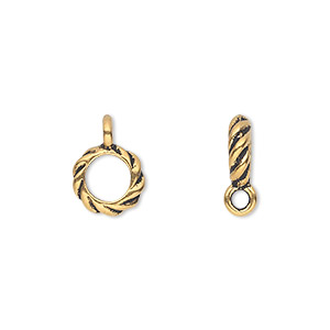 bead, tierracast, antique gold-plated pewter (tin-based alloy), 10x3mm twisted rondelle with loop, 6mm hole. sold per pkg of 2.