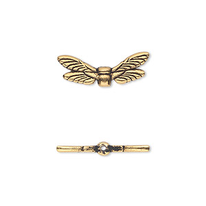 bead, tierracast, antique gold-plated pewter (tin-based alloy), 19.5x7mm double-sided dragonfly wings. sold per pkg of 2.