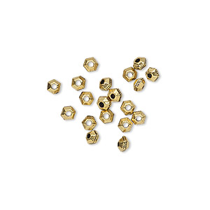bead, tierracast, antique gold-plated pewter (tin-based alloy), 3x2mm faceted hexagon rondelle with beaded center. sold per pkg of 20.