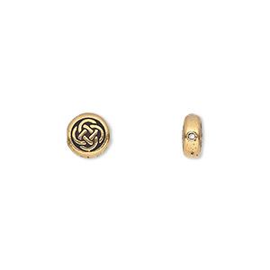 bead, tierracast, antique gold-plated pewter (tin-based alloy), 7mm double-sided flat round with celtic knot. sold per pkg of 2.
