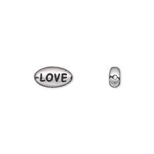 bead, tierracast, antique rhodium-plated pewter (tin-based alloy), 11x6mm double-sided flat oval with love. sold per pkg of 2.