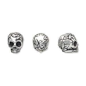 bead, tierracast, antique silver-plated pewter (tin-based alloy), 10x8mm skull with rose and leaf design. sold individually.