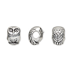 bead, tierracast, antique silver-plated pewter (tin-based alloy), 12x8.5mm owl with 4mm hole. sold individually.