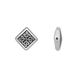 bead, tierracast, antique silver-plated pewter (tin-based alloy), 13x13mm double-sided flat diamond with celtic knot. sold per pkg of 2.