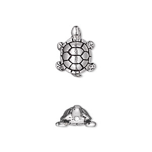 bead, tierracast, antique silver-plated pewter (tin-based alloy), 15x11.5mm double-sided turtle. sold per pkg of 2.