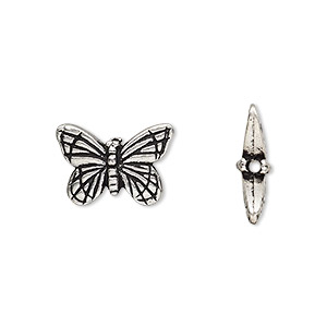bead, tierracast, antique silver-plated pewter (tin-based alloy), 16x11mm double-sided butterfly. sold per pkg of 2.