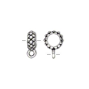 bead, tierracast, antique silver-plated pewter (tin-based alloy), 9.5x4mm beaded rondelle with loop, 6mm hole. sold per pkg of 2.
