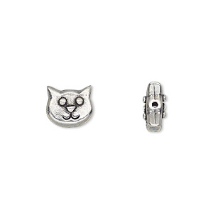 bead, tierracast, antiqued pewter (tin-based alloy), 10x8.5mm double-sided cat face. sold per pkg of 2.
