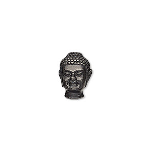 bead, tierracast, black-plated pewter (tin-based alloy), 13.5x9.5mm buddha head with 2.5mm hole. sold individually.